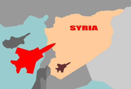 Middle East conflict. ISIS under air strike attack. Air fighter silhouette flying above Syria map Illustration