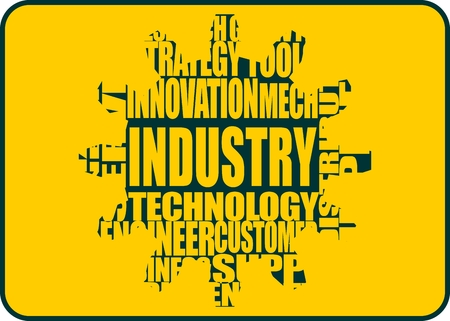 tags cloud: Industry word build in relative tags cloud concept. Text integrated in gear Illustration