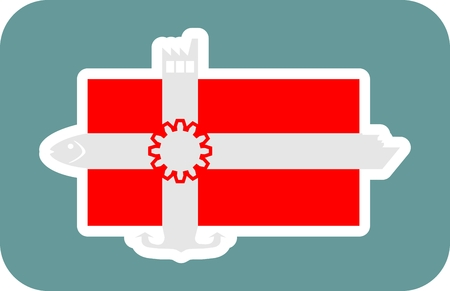 ferry boat: Denmark national banner and industrial icons collage. Ship, fish, factory, anchor icons on the end of flag stripes