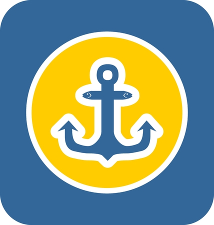 travel industry: Sea travel, industry and journey sticker icon. Blue and yellow colors. Anchor with fish head element