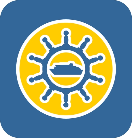 ferry boat: Sea travel, industry and journey sticker icon. Blue and yellow colors. Ferry boat in steering wheel