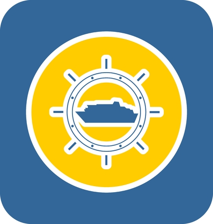 travel industry: Sea travel, industry and journey sticker icon. Blue and yellow colors. Ferry boat in compass circle steering wheel