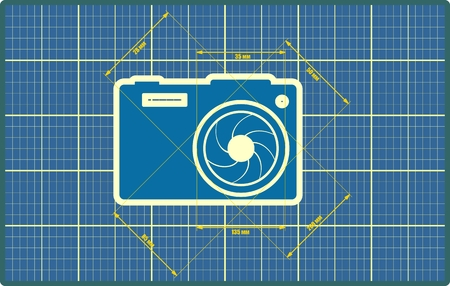 camera: Photo icon. Blue outline silhouette. Measure lines with focal lenght data. Blueprint draft design