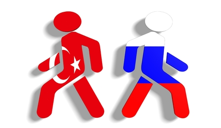 politic: Image relative to politic relationships between Russia and Turkey. National flags on walking away pedestrian icons Stock Photo