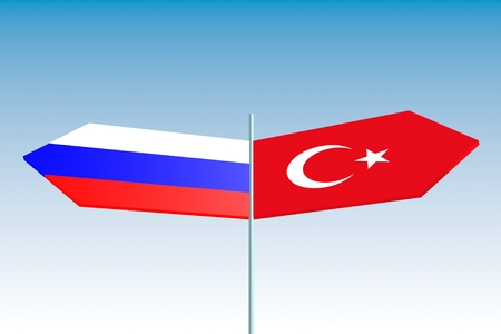 politic: Image relative to politic relationships between Russia and Turkey. National flags on road destination arrows