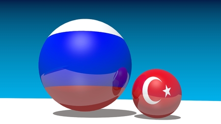 politic: Image relative to politic relationships between Russia and Turkey. National flags on spheres