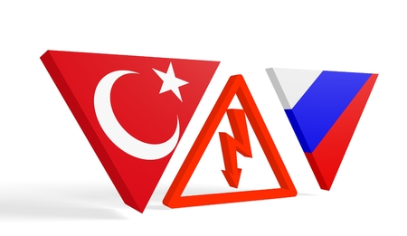politic: Image relative to politic relationships between Russia and Turkey. National flags on tringles banner divided by high voltage sign