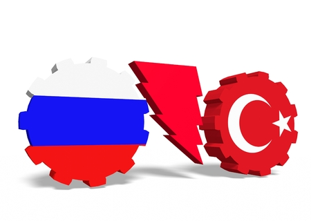 politic: Image relative to politic relationships between Russia and Turkey. National flags on gears divided by high voltage lighting sign