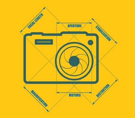 photo camera: Photo camera icon. Blue outline silhouette. Measure lines with main parameters name list.