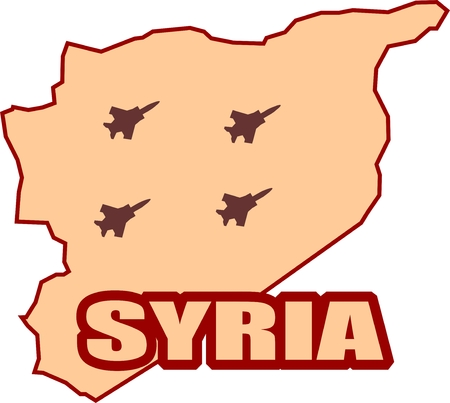 middle air: Middle East conflict. ISIS under air strike attack. Air fighter silhouettes on Syria map