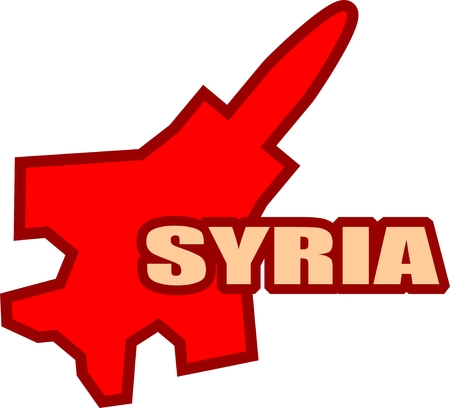 middle air: Middle East conflict. ISIS under air strike attack. Air fighter silhouette and Syria text