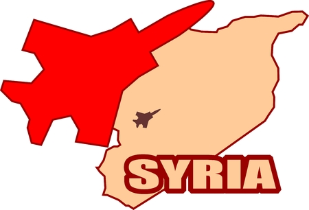 middle air: Middle East conflict. ISIS under air strike attack. Air fighter silhouette flying above Syria map Illustration