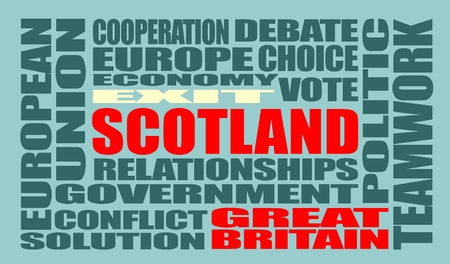 area of conflict: Words cloud relative to politic situation between Great Britain and Scotland. Vote for exit - Scotland leaving the United Kingdom Illustration