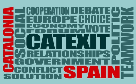 catalonia: Words cloud relative to politic situation between Spain and Catalonia. Catalonia vote for leaving from the Spain state. Catextit word