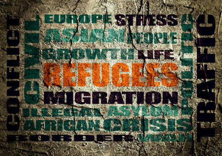 build in: Image relative to migration from africa to european union. Orange refugees word build in words cloud. Concrete textured backdrop Stock Photo