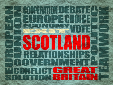 area of conflict: Words cloud relative to politic situation between Great Britain and Scotland. Vote for exit - Scotland leaving the United Kingdom Stock Photo