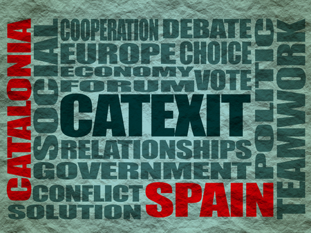 area of conflict: Words cloud relative to politic situation between Spain and Catalonia. Catalonia vote for leaving from the Spain state. Catextit word