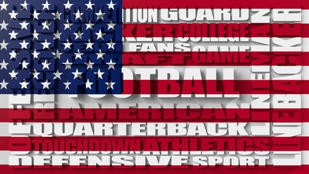 build in: Football word build in relative words cloud. USA national sport illustration. Letters textured by United States national banner Stock Photo