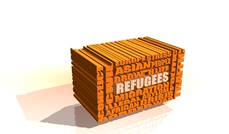 border patrol: Image relative to migration from africa to european union. Refugees word build in orange box shaped words cloud. White backdrop