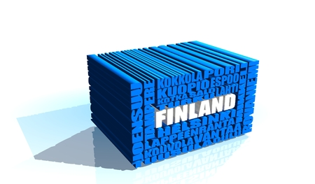 rovaniemi: Finland cities list in words cloud. White and blue letters.