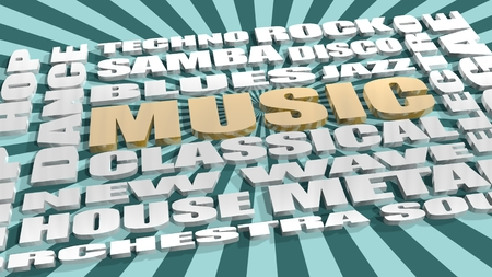 genres: Main music genres clouds list. Golden and silver letters on sun rays backdrop