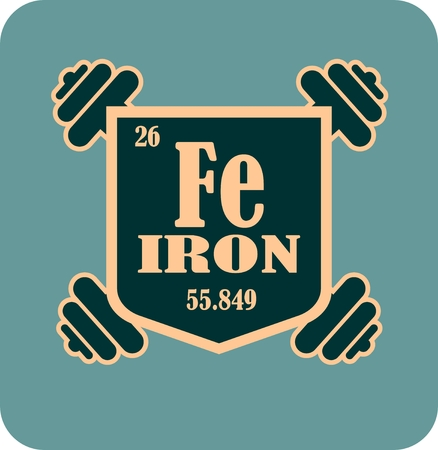 athletic type: Iron text on shield sticker. Image relative for gym and bodybuilding. Remastered iron chemical element tag. Chemistry in metaphor design. Bodybuilding club emblem