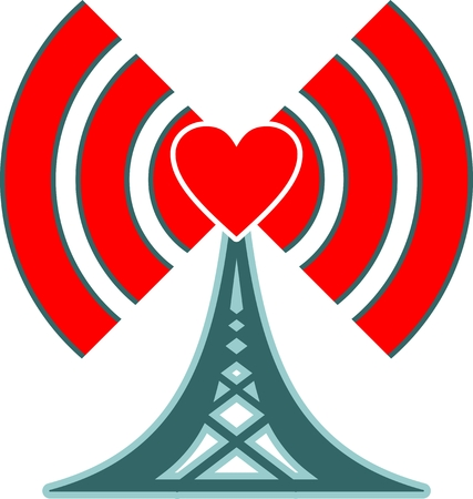 emitter: Wi Fi Symbol with heart icon as radio waves emitter. Mobile gadgets technology relative image Illustration