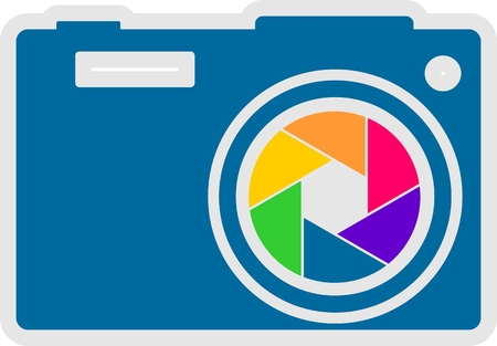 photo camera: Photo camera icon. Outline silhouette with rainbow colors lens aperture Illustration
