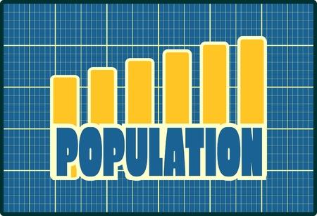 population growth: Population word on groth diagram. Blueprint backdrop Illustration