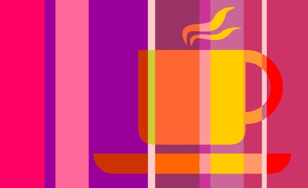striped band: Coffee or tea cup. Vector illustration. Striped silhouette on gradient band backdrop