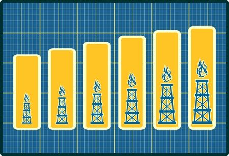 increase diagram: Gas rig icons on blueprint chart diagram. Consumption growth. Image relative to increase gas production.
