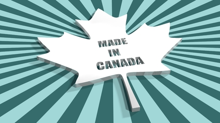 silver maple: From canada national flag elements background. Silver maple leaf perforated by made in Canada text on sun burst backdrop Stock Photo