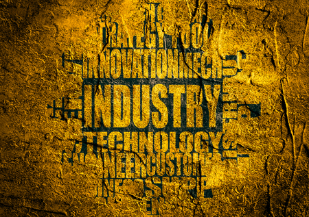 tags cloud: Industry word build in relative tags cloud concept. Grunge textured concrete wall surface. Gear from  text