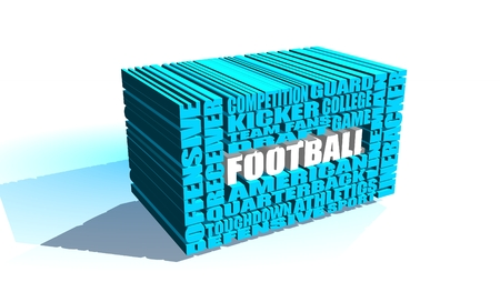 build in: Football word build in relative blue words cloud. USA national sport illustration Stock Photo