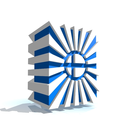 lapland: 3d shape from finland national flag elements. Image for Independence Day celebration. 6 december finland national holiday