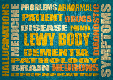 tags cloud: Lewy body dementia tags cloud on blue concrete textured surface Stock Photo