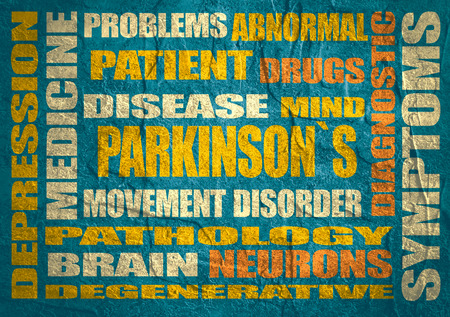 degenerative: parkinsons syndrome disease tags cloud on blue concrete textured background