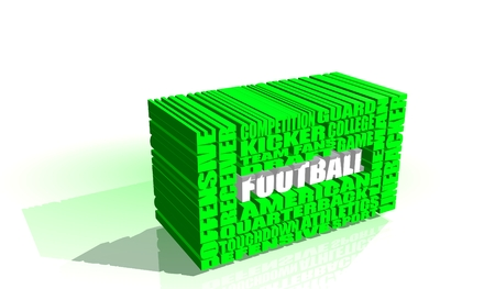 build in: Football word build in relative green words cloud. USA national sport illustration