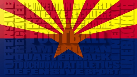 build in: Football word build in relative words cloud. USA national sport illustration. Arizona state flag Stock Photo