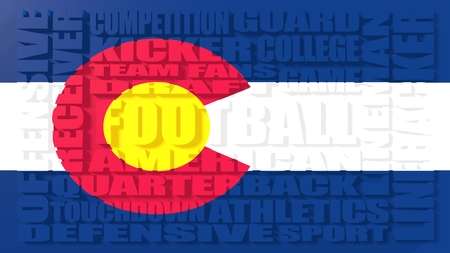colorado state: Football word build in relative words cloud. USA national sport illustration. Colorado state flag
