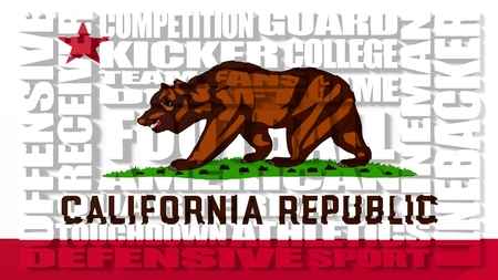 build in: Football word build in relative words cloud. USA national sport illustration. California state flag Stock Photo