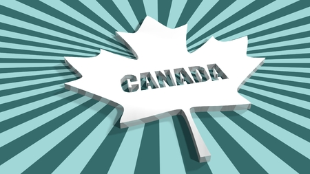silver maple: From canada national flag elements background. Silver maple leaf perforated by Canada word on sun burst backdrop