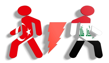 area of conflict: Image relative to politic relationships between Iraq and Turkey. National flags on human icons divided by high voltage sign