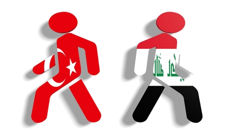 area of conflict: Image relative to politic relationships between Iraq and Turkey. National flags on human icons Stock Photo