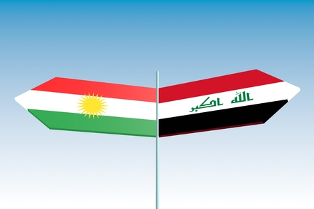 politic: Image relative to politic relationships between Iraq and Kurdistan. National flags on destination arrow road Stock Photo