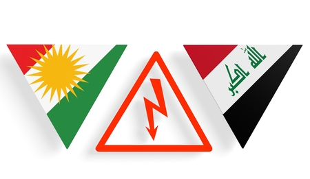 politic: Image relative to politic relationships between Iraq and Kurdistan. National flags on triangles banner divided by high voltage sign