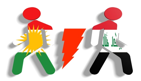 politic: Image relative to politic relationships between Iraq and Kurdistan. National flags on human icons divided by high voltage sign