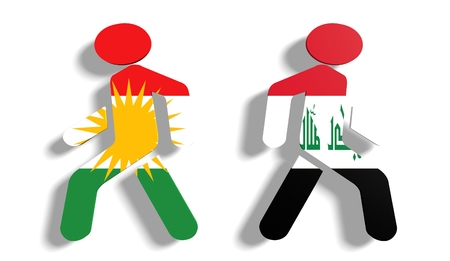 politic: Image relative to politic relationships between Iraq and Kurdistan. National flags on human icons
