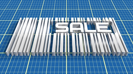 silver bar: silver bar code with sale text blue print net textured background Stock Photo