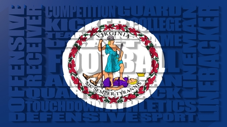 build in: Football word build in relative words cloud. USA national sport illustration. Virginia state flag